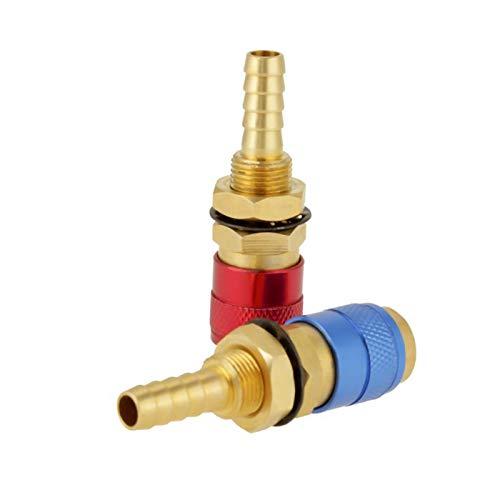 PYouo-Junta de tubería de latón 2pcs 8 mm refrigerado por agua adaptador de gas, conector rápido Conjunto Accesorios, for el montaje de la antorcha de soldadura del enchufe rápido, Material grueso