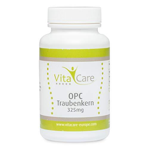 VitaCare OPC Traubenkernextrakt - 60 natürliche Traubenkern-Kapseln als Antioxidantien mit Vitamin B12-325 mg reines OPC Pulver pro Kapsel