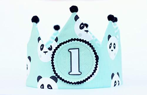 Corona de cumpleaños niño con tela dibujos de panda, corona reversible