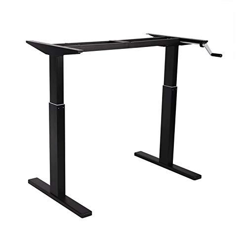 Flexispot H2B Höhenverstellbarer Schreibtisch Kurbelverstellbares Tischgestell, Passt für Alle Gängigen Tischplatten (Schwarz, Maximale Belastung: 80 KG.)