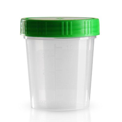 50 x Urinbecher 125 ml / Farbe: Natur / Schraubdeckel: Grün / mit Graduierung / hygienisch verpackt / mit Beschriftungsfeld auf Becher und Deckel / Urinprobenbecher / Urinprobebecher / Probebecher / Probenbecher