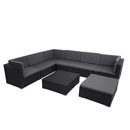 Mendler Poly-Rattan Garnitur HWC-G79, Balkon-/Garten-/Lounge-Set Gartenmöbelset Sitzgarnitur Sofa - schwarz, Kissen dunkelgrau