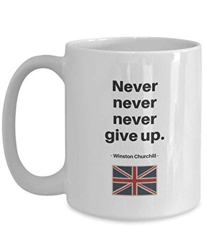 Lawenp ¡Taza de Winston Churchill! Liderazgo perseverancia coraje. Nunca, nunca, nunca darse por vencido. Historiador, Reino Unido, Inglaterra, valor, liderazgo, ¡don! 11 onzas