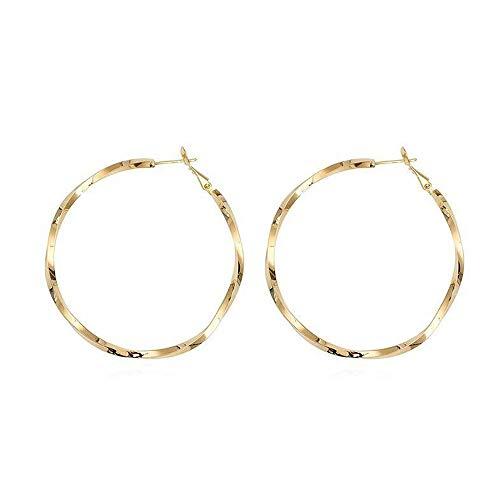 Pendientes de aro para mujeres y niñas, chapados en oro con aro trenzado con plata de ley 925 y pendientes redondeados con gran lazo, regalo personalizado para el día de San Valentín