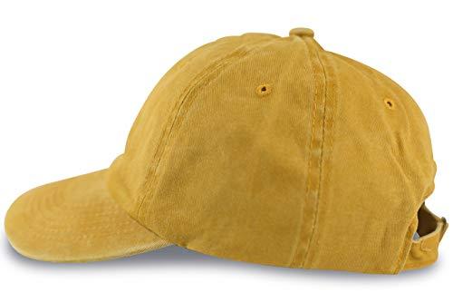 fashionchimp ® Baseballcap im Vintage Used-Look aus 100% Baumwolle, Unisex Jeans Denim Cap (Gelb)