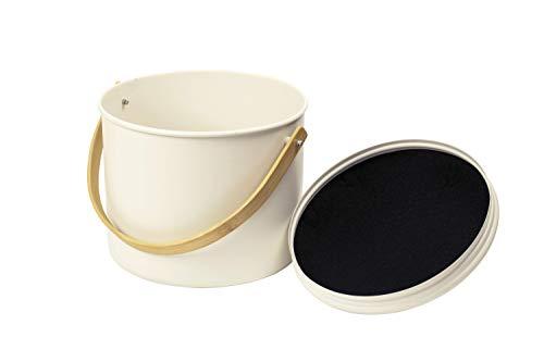 Pebbly NBA167 Seau à Compost d'intérieur 7 L, en métal/Bambou, avec Filtre Charbon, Acier, crème, 22 x 18 cm – 7 litres