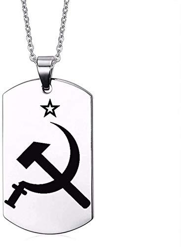 LKLFC Collar Mujer Collar Hombre Collar Símbolos rusos Iconos Nacionales Perro de Acero Inoxidable 316L para Personalizar Collares de águila Colgante Collar con Colgante Niñas Niños Regalo