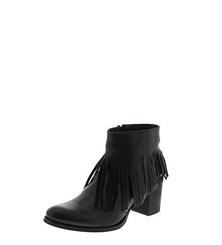 Fashion Boots laarzen boots Borlas Boots FW1013 Negro/zwarte dames laarzen laarzen/dames laarzen met franjes