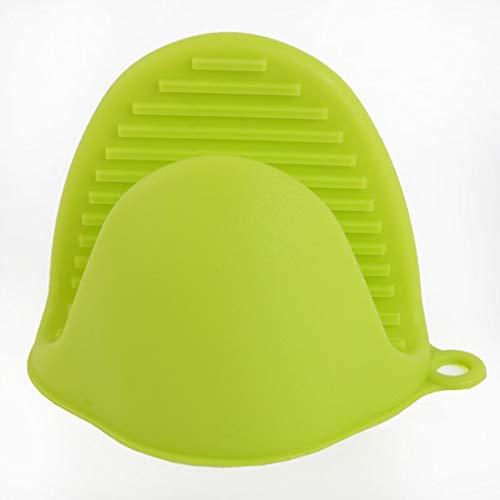 Guantes de Silicona Anti-Quemaduras Soporte para Platos Bandeja de Aislamiento de Cocina Plato para Hornear Horno con Clip de Mano (Verde)