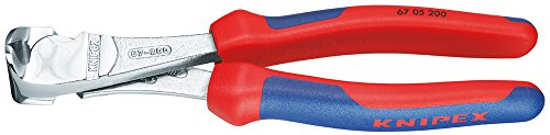 KNIPEX 67 05 140 Pince coupante de devant à forte démultiplication chromée avec gaines bi-matière 140 mm