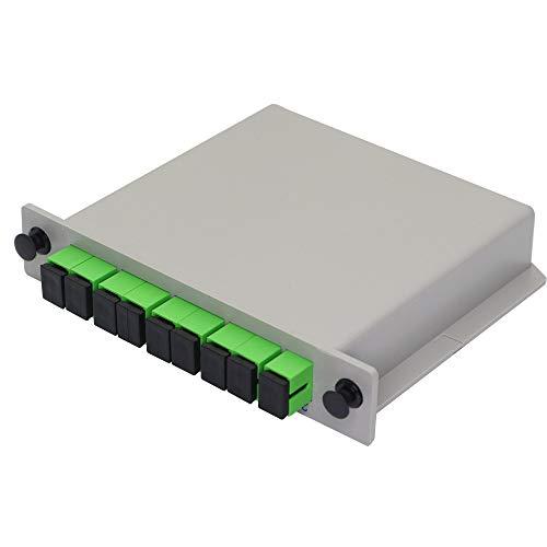 GINTOOYUN 1x8 Fibra óptica PLC Splitter SC APC Splitter Cassette tarjeta Inserción monomodo para cableado casero, proyectos de ingeniería, LAN de fibra óptica