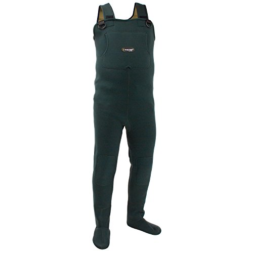 FROGG TOGGS Amphib Neoprene Stockingfoot Chest Wader, Forest Green, Size Large