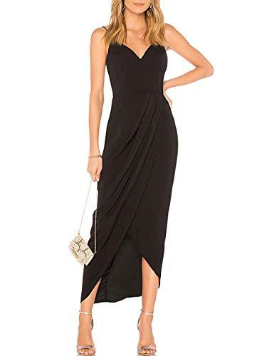 CMZ2005 Women's Sexy V Neck Backless Maxi Dress Sleeveless Spaghetti Straps Cocktail Party Dresses 71729 (L, Black) (Apparel)