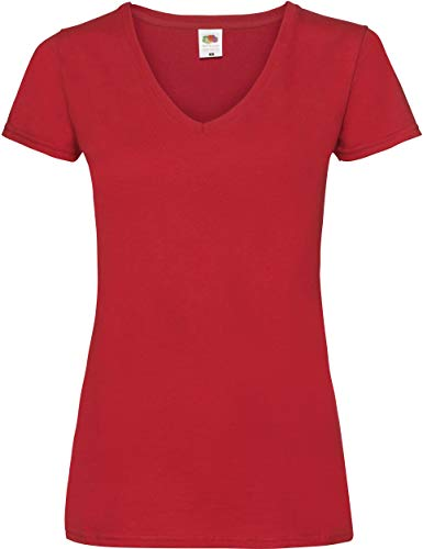 Lady-Fit Valueweight V-Neck T-Shirt von Fruit of the Loom Rot M