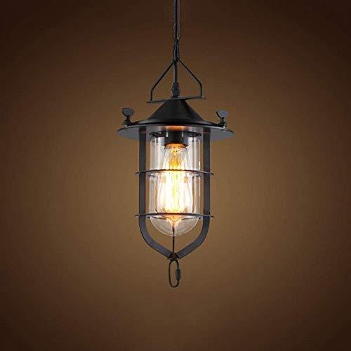 Pasillo colgando linterna industrial retro restaurante chandelerdurable labrado hierro colgante lámpara brillante E27 soltero cabeza vidrio lámpara colgante iluminación casa
