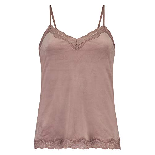 HUNKEMÖLLER Damen Samt Scallop Cami Top in Spitze Rose M
