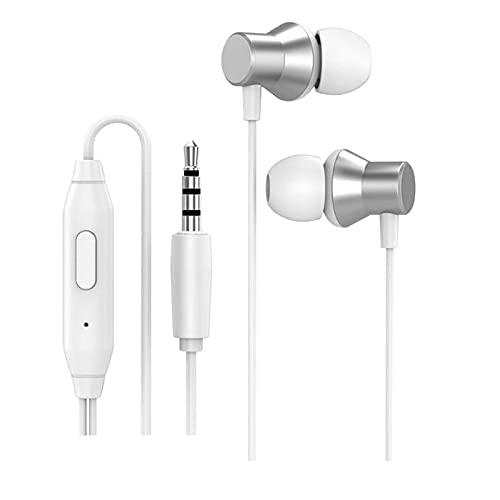 MagiDeal Auriculares In Ear Auriculares con Micrófono, Auriculares con Sonido Estéreo, Aislamiento de Ruido, Gratis, Auriculares de 3,5 Mm con Cable para iOS Y - Blanco