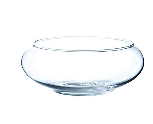 INNA-Glas Coupe en Verre Ronde KENDY, Transparent, 8cm, Ø 19,5cm - Coupelle Ronde - Centre de Table en Verre