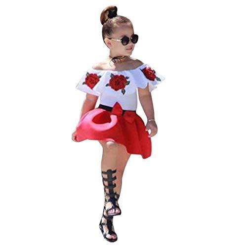 VJGOAL hoge kwaliteit kleine kinderen baby meisjes mouwloos schoudervrij borduurwerk roos tops + rok outfits