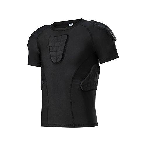 Maglietta imbottita Youth Boys imbottita compressione Sport T-Shirt protettiva petto toracico Esercizio estremo