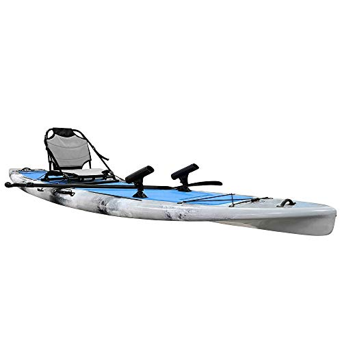 Brooklyn Kayak Company BKC SUPYN 12' Solo Sit-On-Top Paddleboard w/Upright Aluminum Frame Backrest Support Seat - Paddle Included