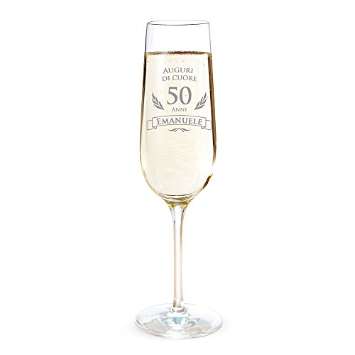 AMAVEL Flute con Incisione per i 50 Anni, Auguri di Cuore, Personalizzato con Nome, Bicchieri da Spumante in Vetro, Calici Champagne, Accessori Decorativi Cucina, Idee Regalo Originali