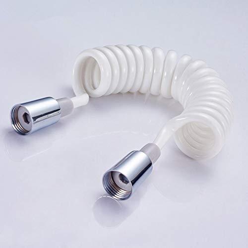 Cap cobre ducha espuma Bidé telescópica resorte de manguera de 1,5 m de Primavera retráctil de PVC flexible manguera de la ducha cabezal de ducha Bidé Flexo Ducha (Color : White, Length : 150cm)