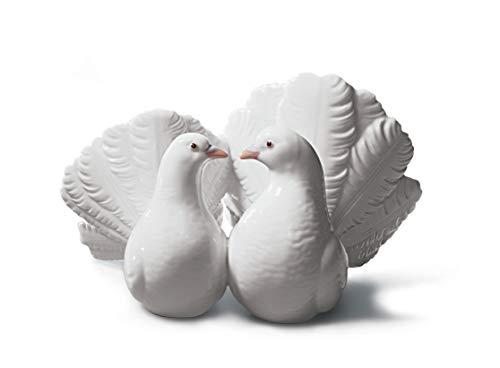 LLADRÓ Couple of Doves Figurine. Porcelain Doves Figure.