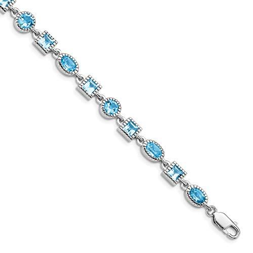Diamond2Deal Damen-Armband aus 925er Sterlingsilber, rhodiniert, blauer Topas