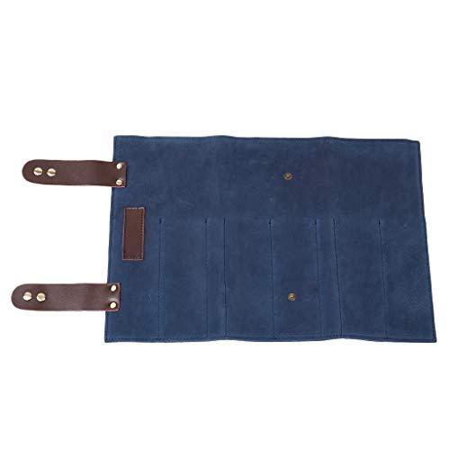 Non-brand Tijeras de Peluquero Profesional/Tijeras/Peines/Clips Estuche de Almacenamiento Estuche con Rollo de Bolsa - Azul Oscuro, 24 x 12 cm