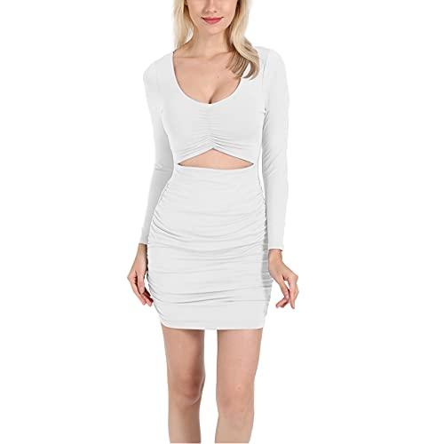 Glosun Vestido sexy ahuecado para mujer color sólido manga larga fruncido bodycon mini vestido fiesta Clubwear, blanco, S