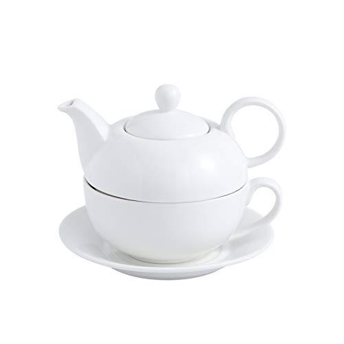 MALACASA Teapot, Porcelain Tea Pot and Tea for One Set,White Teacup and Saucer Set,Teapots Sets for One - (11 Oz Teapot, 8.4 Oz Teacup, 6 Inch Saucer)