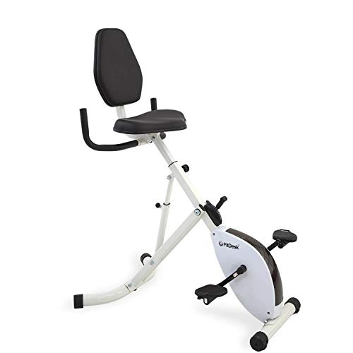 FitDesk Standing Desk Bike - Height Adjustable with 8 Level Resistance and Easy to Read Digital Performace Meter - Foldable - for Home and Office Use, White