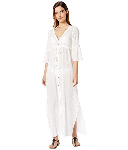 Heidi Klein Portofino Tie Front Maxi Kaftan White/White MD