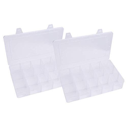 PandaHall Elite 2 Stück durchsichtigen Kunststoff Perlen Aufbewahrungsbehälter, Rechteck Handwerk Organizer Aufbewahrungsbox für Washi Tape, 16.5x27.5x5.5cm