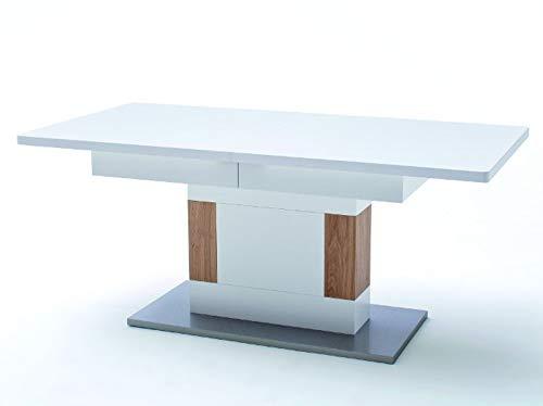 Beauty.Scouts Säulenesstisch Dschinin Tisch ausziehbar Weiss matt/Absetz. Asteiche geölt 180(230) x79x90cm Esstisch Wohnzimmertisch Esszimmertisch robust modern