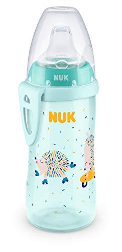 NUK Active Cup Trinklernbecher | 12+ Monate | auslaufsichere Trinkschnabel | Clip & Schutzkappe für unterwegs | 300 ml | BPA-frei | Igel (Minze)