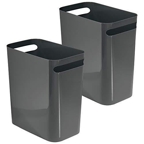 mDesign Slim Plastic Rectangular Large Trash Can Wastebasket, Garbage Container with Handles for Bathroom, Kitchen, Home Office, Dorm, Kids Room - 12' High, Shatter-Resistant, 2 Pack - Slate Gray