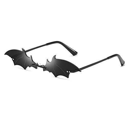 Grainas Retro Fledermaus Randlose Sonnenbrille für Damen Herren Gold Ultraleicht Rahmen UV400-Schutz Vintage Schmale Klassische Verspiegelt Metall Bat Brille (Schwarz/Schwarz)