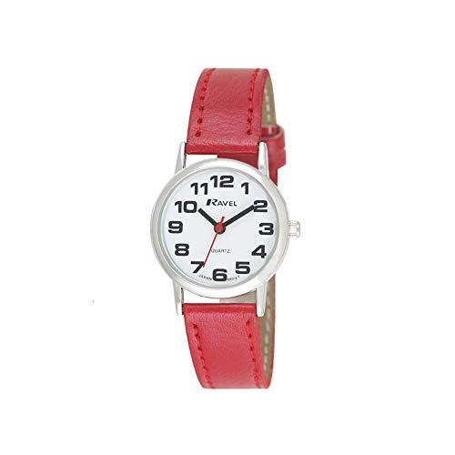 Ravel - orologio con cinturino donna di facile lettura con grandi numeri - Quadrante rossa/argento tono/bianco