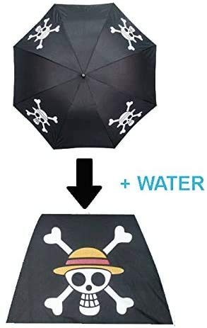 One Piece Anime Strohhüte Schwarz Farbwechsel Regenschirm