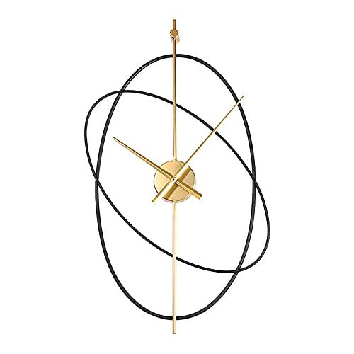 WANGFENG Reloj de Pared silencioso Simple Hierro Forjado Metal Oval Sala de Estar Dormitorio Reloj silencioso Reloj de Pared