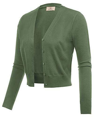 Women Open Front Bolero Shrug Jacket Cardigan Army Green Size 3XL CL2000-13