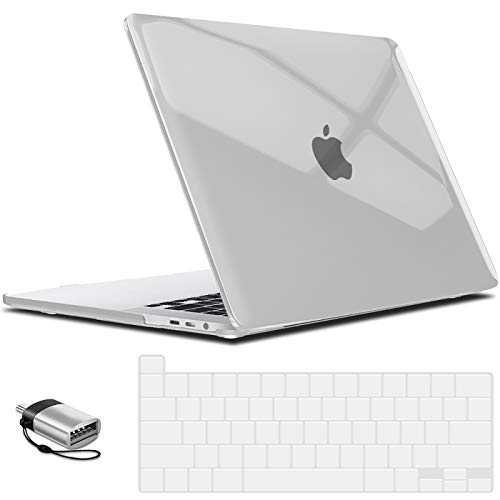 IBENZER MacBook Pro 13 Inch Case 2020 A2251 & A2289, Hard Shell Case with Keyboard Cover and Type C Adapter for Apple Mac Pro 13 Touch Bar, Crystal Clear, MT13-CYCL+1TC