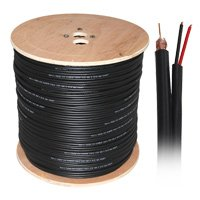 - Distributed by NAC Wire and Cables Black Power Siamese Cable 18AWG Bare Copper + 18AWG Copper 1000ft RG6 Dual Shielded