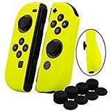 YoRHa Empuñadura Silicona Caso Piel Fundas Protectores Cubierta para Nintendo Switch/NS/NX Joy-con Mando x 2 (Amarillo) con Joy-con los puños Pulgar Thumb gripsx 8