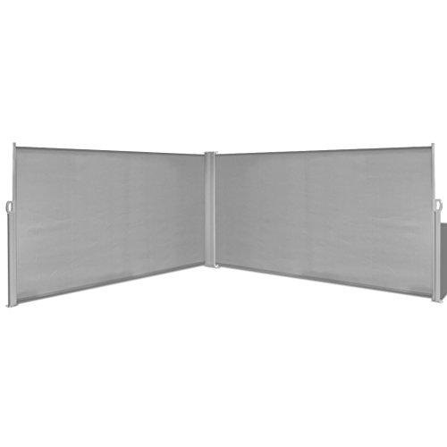 Festnight Ausziehbare Seitenmarkise Markise 160x600cm Standmarkise mit Standpfosten Sichtschutz Sonnenschutz Grau für Balkon Terrasse