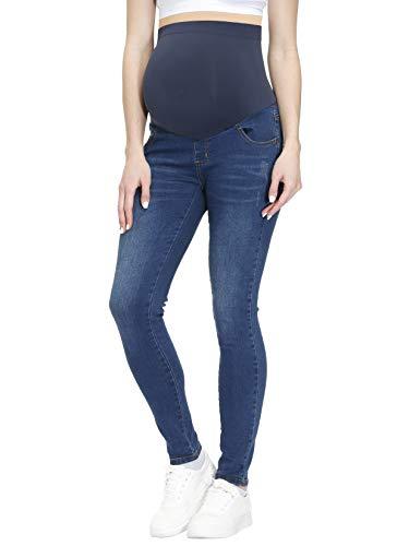 HOFISH Women's Maternity Jeans Over The Belly Maternity Jeggings Preggo Leggings Denim Pants Dark Blue Large