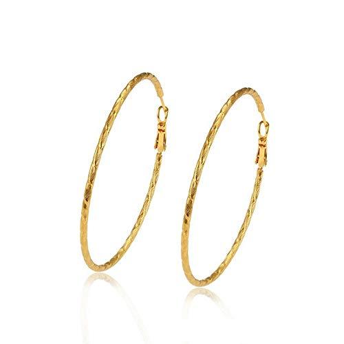 Pendientes de aro cincelado de 6 cm, oro amarillo fino de 24 quilates*