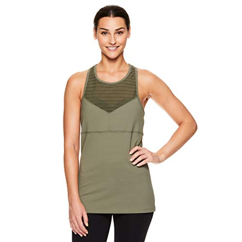 Gaiam Strappy Racerback Yoga Tank w/Built-in Sports Bra